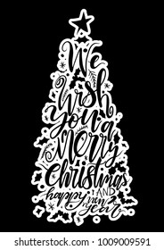 Calligraphy lettering of Christmas tree vector illustration.