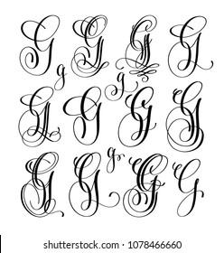 calligraphy lettering script font G set, hand written