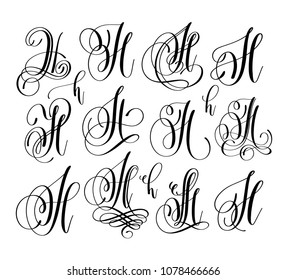 calligraphy lettering script font H set, hand written