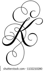 Calligraphy line art letter K