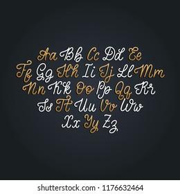 Calligraphy monoline font of Latin letters on black background. Vector handwritten English alphabet.