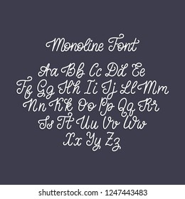 Calligraphy monoline font on dark background. Vector handwritten English alphabet.
