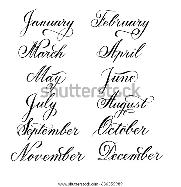Calligraphy Months Year January February March Stock Vector