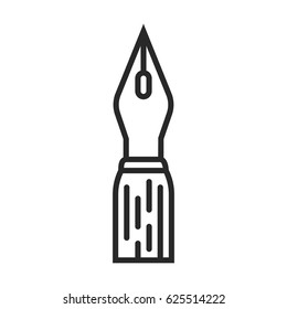 calligraphy pen vector icon in simple outline style. This icon are perfect for your websites and applications.