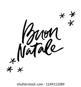 Calligraphy phrase Buon Natale - Have a Merry Christmas in Italian. Hand drawn modern lettering.