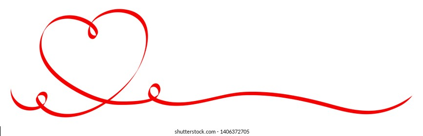 Calligraphy Red Heart With Two Swirls Ribbon