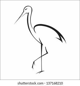 Calligraphy Stork
