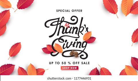 calligraphy of Thanksgiving day banner. Autumn Seasonal lettering.vector illustration