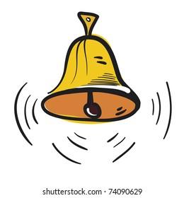 Calling hand bell. A children's sketch