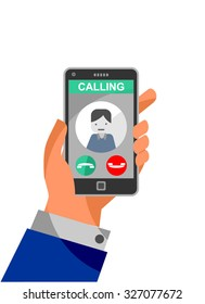Calling on the phone - vector drawing of a ringing mobile phone with image of caller. Life choices metaphor- to accept or reject