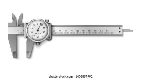 Calliper or caliper with analog dial. Measuring tools. Universal tool designed for high-precision measurements of external and internal dimensions. Vector illustration isolated on white background.