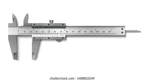 Calliper or caliper. Measuring tools. Universal tool designed for high-precision measurements of external and internal dimensions. Vector illustration isolated on white background.