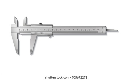 Calliper or caliper. Precision measuring tools from silver steel. Isolated on a white background. Realistic VECTOR