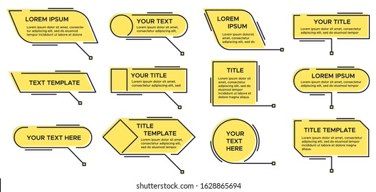 Callout title. Call text graphic, modern infographic yellow layout titles and video, news callouts simple text box isolated line vector set