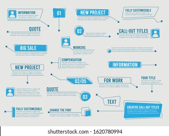Callouts template. Digital info boxes with marketing text modern simple communication callouts vector labels