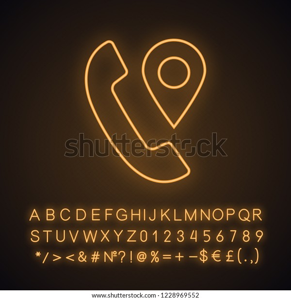 Calls Tracking Neon Light Icon Incoming Stock Vector