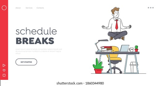 Calm Businessman Character Break in Office Landing Page Template. Worker Meditating at Workplace. Relaxed Man Soaring in Lotus Position in Air Doing Yoga Floating over Desk. Linear Vector Illustration