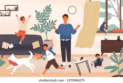 Calm dad and naughty disobedient children running around him. Father surrounded by kids tries to keep equanimity, composure and calmness. Modern fatherhood. Flat cartoon colorful vector illustration.
