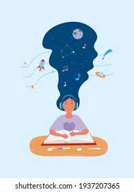 Calm girl is reading a book with headphones on. Young woman sitting with eyes closed, listening to music and imagining space. Concept of meditating and finding peace. Flat cartoon vector illustration