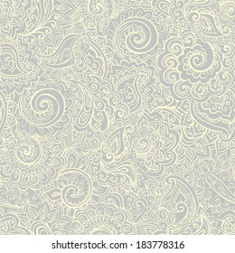 Calm seamless grey pattern with traditional indian ornamental design