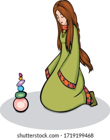 Calm woman in long dress meditates with pyramid of stones