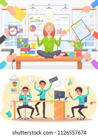 Calm woman and stressed man at office work set. Girl meditates on table while given orders, angry guy screams or has headache vector illustrations.