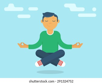 Calm yoga guru meditating in the sky. Flat vector illustration of calm guy with closed eyes doing meditation and relax to increase his concentration on the positive things like guru of meditation
