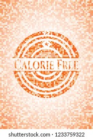 Calorie Free abstract emblem, orange mosaic background