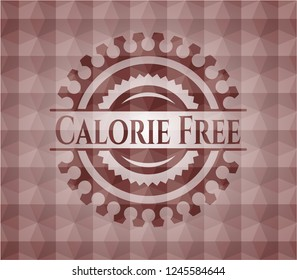 Calorie Free red badge with geometric pattern background. Seamless.