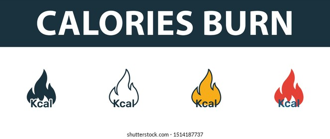 Calories Burn icon set. Premium simple element in different styles from fitness icons collection. Set of calories burn icon in filled, outline, colored and flat symbols concept.