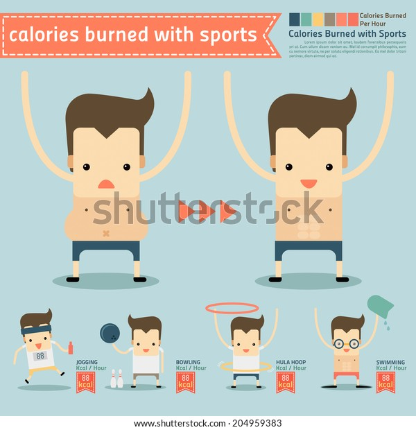 Calories Burned Sports Infographics Vector Stock Vector Royalty Free 204959383