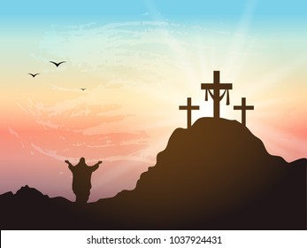 Calvary hill with silhouettes of the cross. Cross symbol for Jesus Christ is risen.