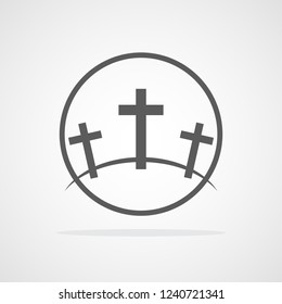 Calvary symbol in the circle. Vector illustration. Gray icon of Golgotha