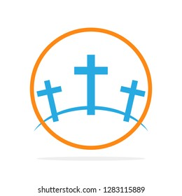 Calvary symbol in the circle. Vector illustration. Colored icon of Golgotha