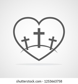 Calvary symbol with shape of heart. Vector illustration. Gray icon of Golgotha