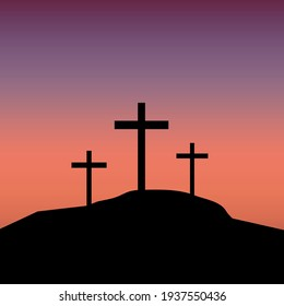 Calvary three crosses, great design for any purposes. Crucifixion against the background of sunset. Stock image. EPS 10.