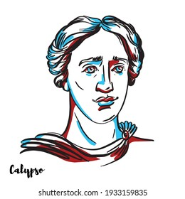 Calypso engraved vector portrait with ink contours on white background. The nymph in Greek mythology, who lived on the island of Ogygia, where she detained Odysseus for seven years.