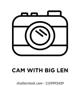 Cam with Big Len icon vector isolated on white background, Cam with Big Len transparent sign , linear and stroke elements in outline style