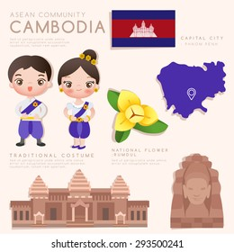 Cambodia : Asean Economic Community (AEC) Infographic with Traditional Costume, National Flower and Tourist Attractions : Vector Illustration EPS10