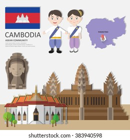 Cambodia, Asean Economic Community (AEC) Infographics with Landmark/Tourist attractions, vector illustration