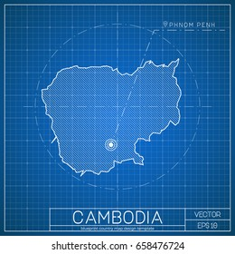 Cambodian stock vectors images vector art shutterstock cambodia blueprint map template with capital city phnom penh marked on blueprint cambodian map malvernweather Image collections