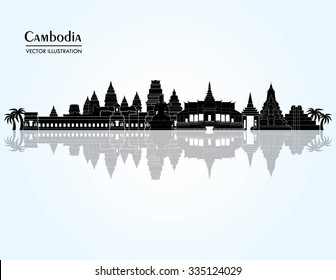 Cambodia detailed skyline. Vector illustration