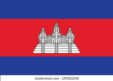 Cambodia flag, official colors and proportion correctly. National Cambodia flag. Vector illustration. EPS10. Cambodia flag vector icon, simple, flat design for web or mobile app.