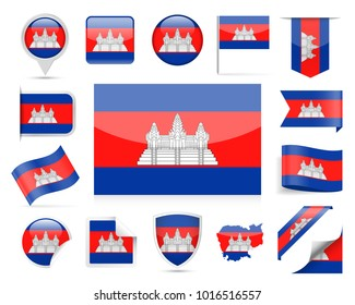 Cambodia Flag Set - Vector Illustration