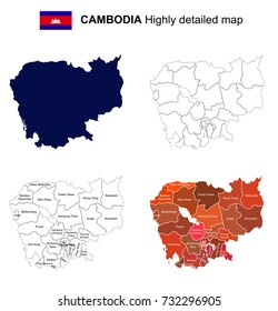 Cambodia - Isolated vector highly detailed political map with regions, provinces and capital. All elements are separated in editable layers.