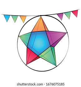 Cambodia or Khmer New year Hanging Star With Full Color Triangle Flag