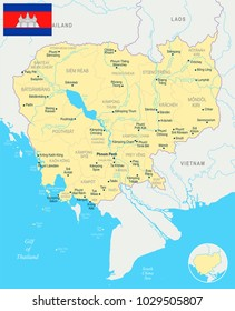 Cambodia, map and flag - High Detailed Vector Illustration