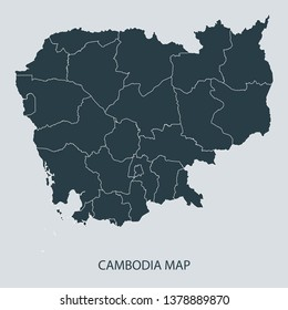 Cambodia map on gray background vector, Cambodia Map Outline Shape Gray on White Vector Illustration, Map with name. High detailed Gray illustration map Cambodia.
