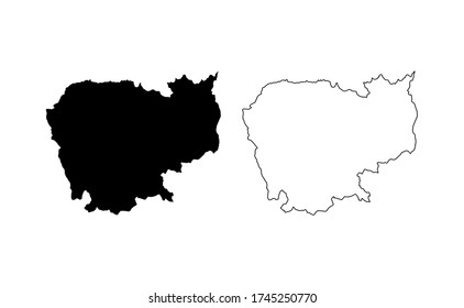 Cambodia map silhouette line country Asia map illustration vector outline Asian isolated on white background
