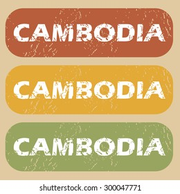 Cambodia on colored background
